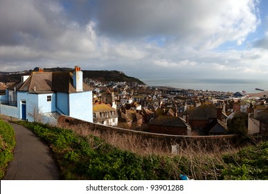 Hastings fishing village, view of the old town. seaside holiday resort in east sussex in England. cityscape with english houses