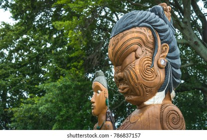 Hastings, New Zealand - January 05 2018 : The cropped shot view of the traditional Maori wood carving statue in Civic square of Hastings, New Zealand.
