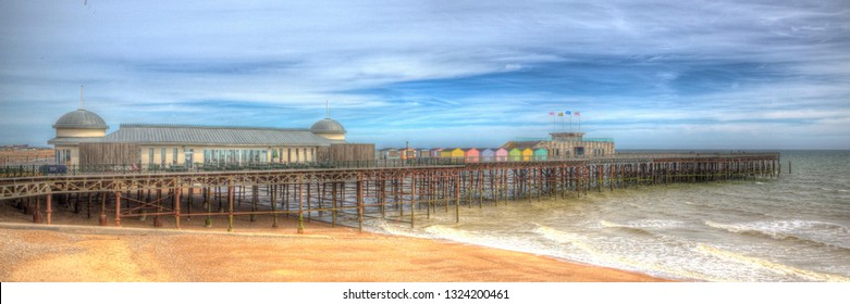 Hastings pier East Sussex England UK in colourful HDR panoramic view