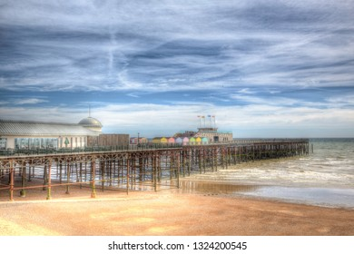 Hastings pier East Sussex England UK in colourful HDR