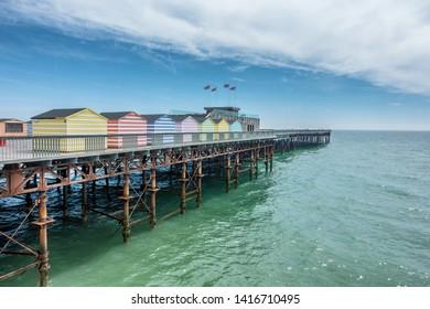 Hastings pier in east sussex in England