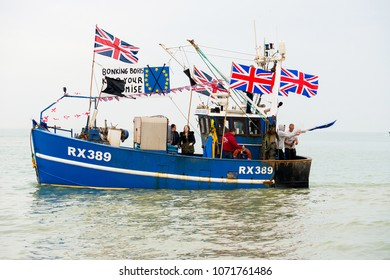 Hastings, UK. 8th April 2018 - EDITORIAL - Fishing For Leave demonstration by local fishermen at Hastings, East Sussex, in protest of EU policies causing devastation to Britain's fishing industry.