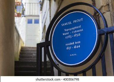 HASTINGS, UK - APRIL 1ST 2016: A blue plaque marking the location where master Watercolourist Samuel Prout once lived in Hastings, taken on 1st April 2016.
