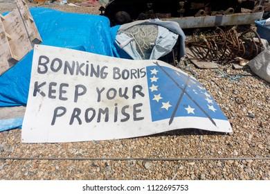 Hastings, UK - JUNE 23rd 2018: Bonking Boris keep your promise UK and European union Brexit debate sign