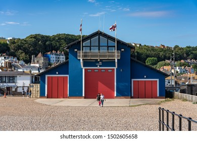 HASTINGS, UNITED KINGDOM - JULY 29: This is a lifeboats hut which sends out lifeboats to rescue people on Hastings beach on July 29, 2019 in Hastings