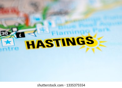 Hastings. United Kingdom on a geography map