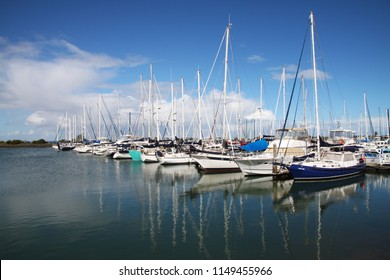 HASTINGS, VICTORIA, AUSTRALIA - 23 SEPTEMBER 2012: Boats moored at the Hastings Marina in Westernport bay on Melbourne's Mornington Peninsula.