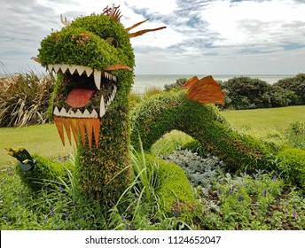 Hastings,East Sussex/UK 06-16-18 A magnificent large dragon topiary design located on Hastings seafront.