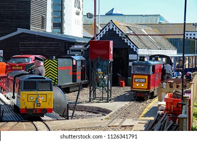 Hastings,East Sussex/UK 07-01-18 Hastings miniature railway. An Intercity 125 is on the turntable, a locomotive named Speedy Fizzle is behind and a loco TM68 is ready to leave Rock-a-Nore station