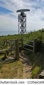 Hastings,East Sussex/UK 07-13-17 Overlooking the English Channel is the Coastguard radar tower. This is located at the top of the cliffs at Fairlight