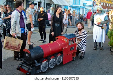 Hastings,East Sussex/UK 08-02-18 Hastings pram race 2018. Sirius Black  , Prisoner of Azkaban could only be preparing one vehicle for this race, a brilliant reproduction Harry Potter Hogwarts Express