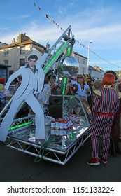 Hastings,East Sussex/UK 08-02-18 Hastings pram race 2018. A Saturday night fever themed pram ready for the start