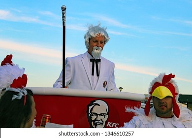 Hastings,East Sussex/UK 08-02-18 Hastings pram race 2018. One of Hastings most entertaining and colourful events. This group have their own take on the KFC brand, headed by their own colonel Sanders