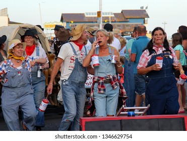 Hastings,East Sussex/UK 08-02-18 Hastings pram race 2018. An entertaining and colourful free event.  A team taking part with a Hillbilly theme are pictured on the seafront
