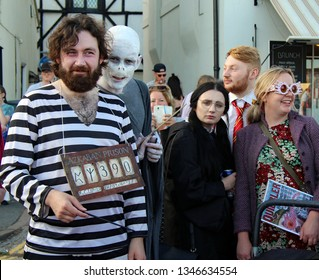 Hastings,East Sussex/UK 08-02-18 Hastings pram race 2018. Sirius Black  is proudly carrying his Harry Potter Prisoner of Azkaban board around before the race, Voldemort is photo bombing the picture