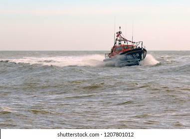 Hastings,East Sussex/UK 10/13/18 Hastings brand new Shannon class lifeboat, Richard and Caroline Colton, RNLI 13-28.Here it is displaying its abilities to the public for the first time