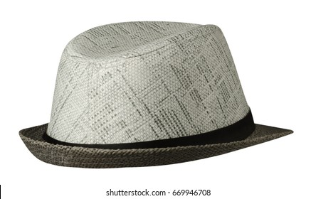 hat with a brim .hat isolated on white background .gray hat .