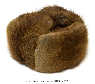 Hat from fur of the muskrat on white background