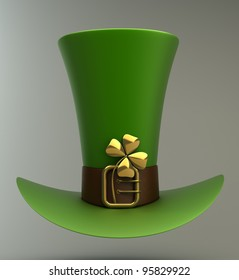 Hat with gold and clovers 3d illustration. high resolution