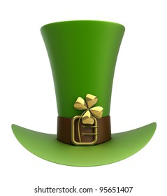 Hat with gold and clovers isolated on white background 3d illustration. high resolution