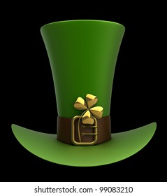 Hat with gold and clovers isolated on black background 3d illustration. high resolution