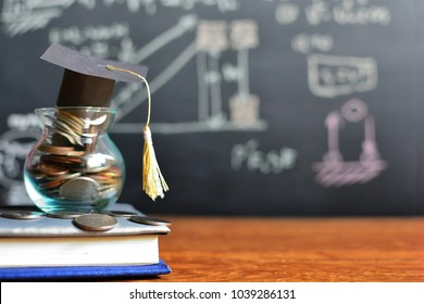 hat graduation model on coins saving for concept investment education and scholarships
