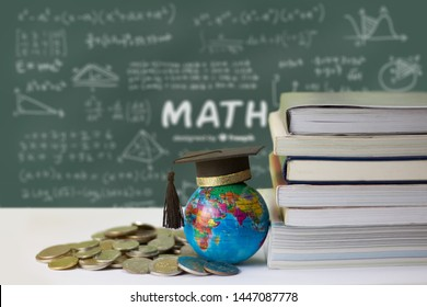 hat graduation model on globe set with money coins saving for concept investment education and scholarships.Concept of global business, abroad educational, Back to School.