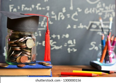 hat graduation model on money coins saving for concept investment education and scholarship