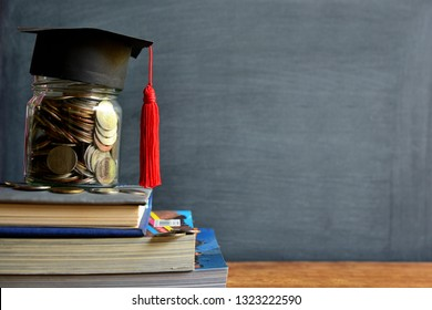 hat graduation model on money coins saving for concept investment education and scholarships