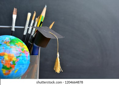 hat graduation model on pencils for concept education and scholarships