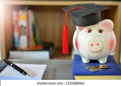 hat graduation model on piggy saving for concept investment education and scholarships