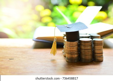 hat graduation on money for concept scholarships  education investment and finance
