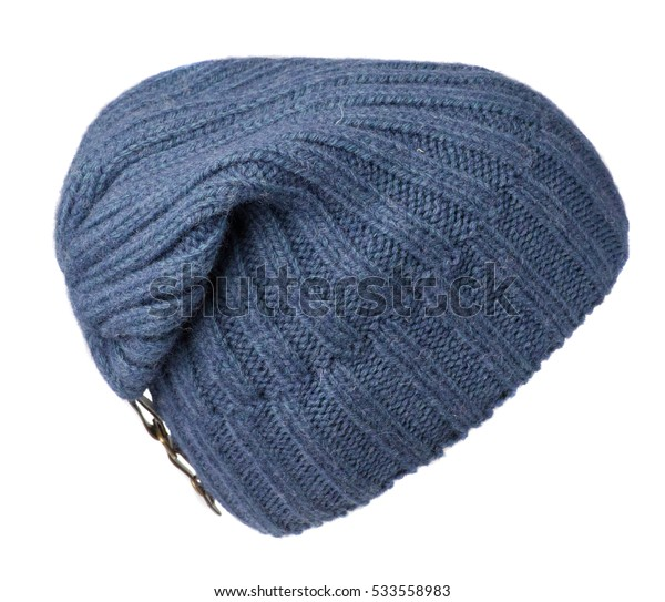 hat isolated on white background .knitted hat .blue hat .