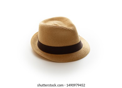 Hat isolated on white. A small fedora hat with brown band
