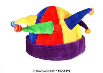 hat for a jester and clown isolated on white background