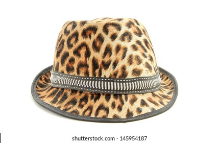 Hat, leopard pattern , isolate on white