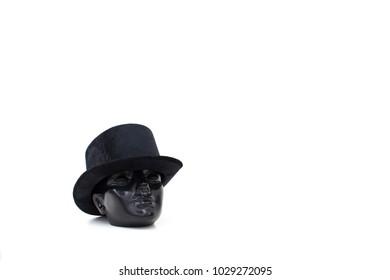 Hat on black Mannequin dummy Head on White background