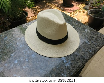 Hat Panama cream coler weave handmade on natural marble in a green park.