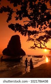 The Hat Phra Nang Beach at Railay near Ao Nang outside of the City of Krabi on the Andaman Sea in the south of Thailand.    Thailand, Railay, April, 2014