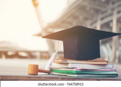 Hat Put on the Pile of Books. Graduation Hat on Book, Education and Graduation Concept