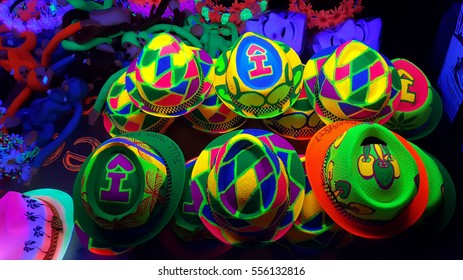 Hat reflect color at Pha ngan Island on the Haad Rin.Rin beach Thailand. 2016 countdown party and full moon party