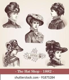 """The Hat Shop  - Vintage engraved illustration  - """"La mode illustree"""" by Firmin-Didot et Cie in 1882 France"""