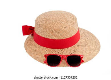 Hat, Straw hat with red ribbon and bow and sunglasses fashion for lady, women in summer season isolated on white background with clipping path.
