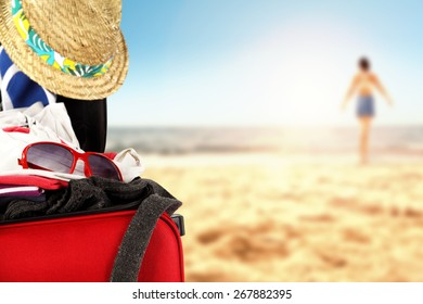 hat and suitcase
