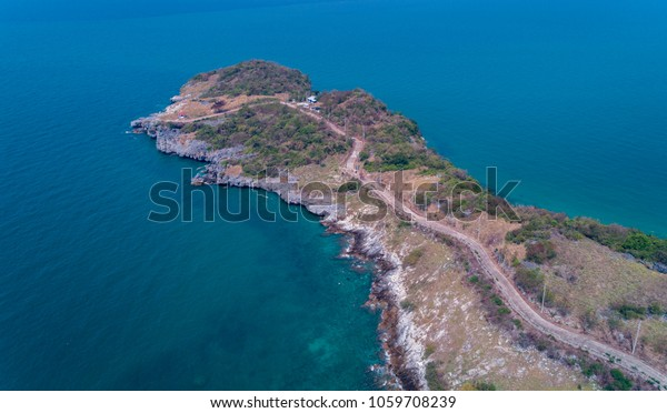 Hat Tham Phang from drone view in Si Chang Island from drone view in Si Chang Island