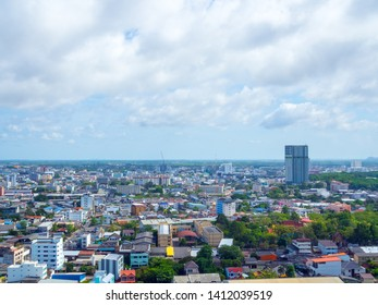 Hat Yai, Songkhla,Thailand - May 5, 2019 : Hat Yai cityscape with mountain from high view with blue sky and cloud in Hat Yai, Songkhla,Thailand
