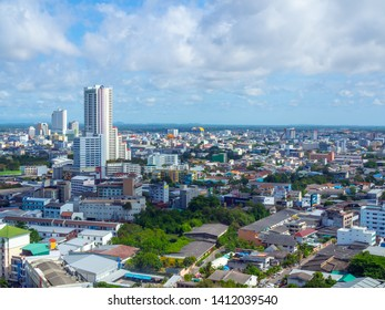 Hat Yai, Songkhla,Thailand - May 5, 2019 : Hat Yai cityscape from high view with blue sky and cloud in Hat Yai, Songkhla,Thailand