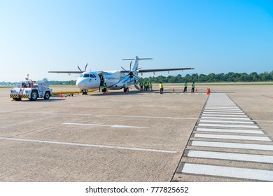 HAT YAI, THAILAND - 24 APR 17: Turboprop passenger airplane of Bangkok Airways in Hat Yai international airport