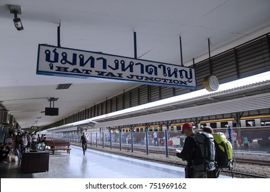 Hat Yai, Thailand - February 11th, 2017: Image of Hat Yat train station with tourist are waiting for the train at Hat Yai train station, Hat Yai, Thailand.