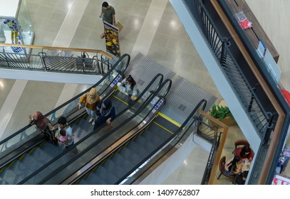 HAT YAI ,THAILAND -MAY 15,2019; View of escalator at the mall Central Festival Hat Yai.